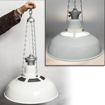 Vintage White SAAFLUX Light Fitting Enamel Metal BENJAMIN Lamp Shade Loft Ready