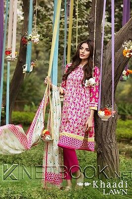 Khaadi pakistani designer Embroidered Lawn suit 2016 collection