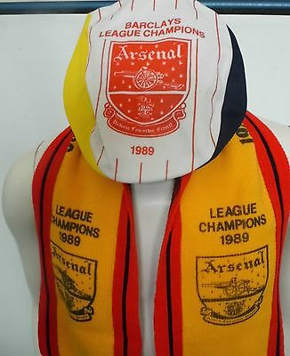 Very Rare Arsenal Barclays League Champions 1989 Hat & Scarf