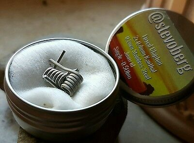 2x Fused Clapton Coil, Kanthal, Stainless Steel, RDA, RTA, RDTA