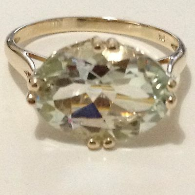 Real 9k Yellow Gold YG with 5.35 ct. Natural Earth Mine Green Amethyst Ring