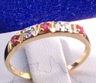 0.17ct TW Genuine Natural Ruby & Dimaond Ring in Real 9K Solid Yellow Gold YG