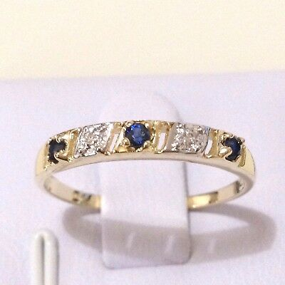 0.16ct TW Genuine Natura Sapphire & Diamond in Real 9K Solid Yellow Gold YG Ring