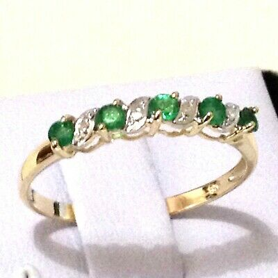 0.28ct.TW Genuine Emerald & Diamond Real 9K Yellow Gold Ring Sz 4,5, 6, 7, 8, 9
