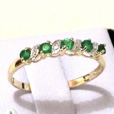 Engagement Wedding Ring: Genuine Emerald & Diamond Real 9K Yellow Gold Ring