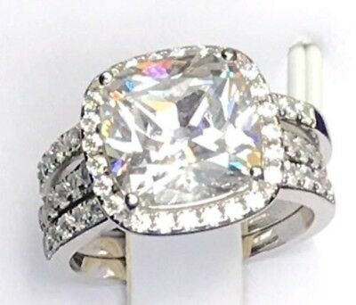 3pc Bridal Set 10mm 5ct Cushion Created Diamond Engagement Halo Ring 925 Silver