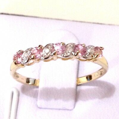 Real 9K Yellow Gold Natural Pink Sapphire Ring