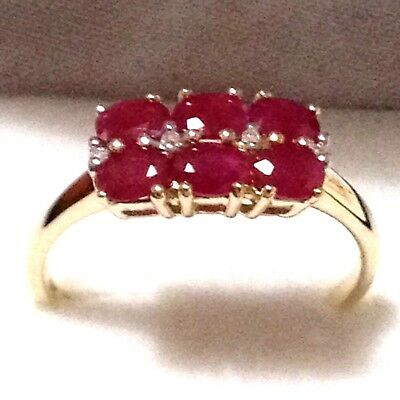 Real Genuine 9K Solid Yellow Gold 6pc 100% Genuine Natural Ruby & Diamond Ring
