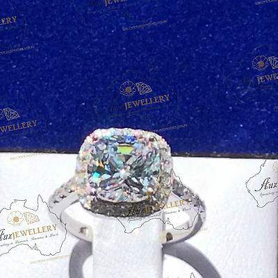 3ct (8mm) Cushion Cut Simulated Diamond Engagement Halo Ring in 925 Silver
