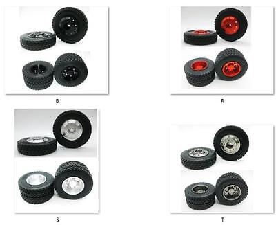 4p x 1/14 Front/Rear aluminum wheels rim Tires for RC Tamiya 1/14 Tractor Truck