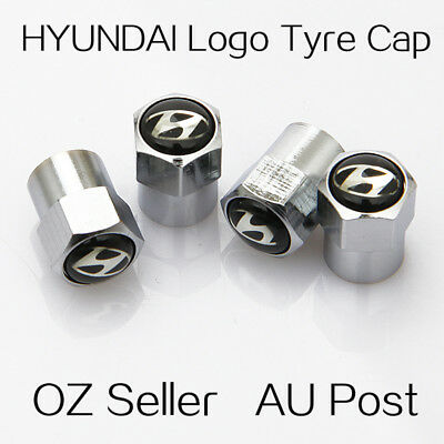 4X HYUNDAI Logo Emblem Wheel Tyre Tire Cap Valve Stems Air Dust Cover Screw Caps
