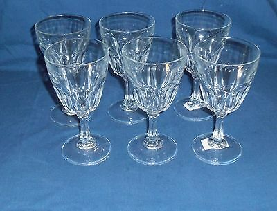 """Arcoroc Petale Clear Panel Wine/Water Glass Goblets 6 7/8"""" tall  6- PcS France"""