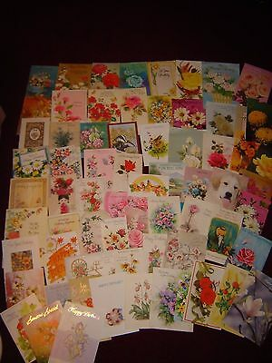 Lot of 65 Vintage Used Birthday Cards - Many Fronts Only - for Crafts, Scrapbook