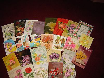 Lot of 26 Vintage Used Greeting Cards for Grandma Grandpa Grandmother for Crafts