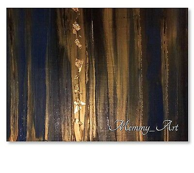 UK HAND PAINTED 24k Gold Leaf Black Blue Canvas painting Abstract Acrylic