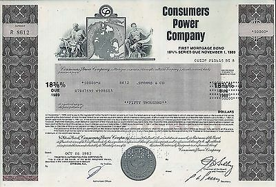 Consumers Power Company 1982, 18 3/8% First Mortgage Bond due 1989 (50.000 $)