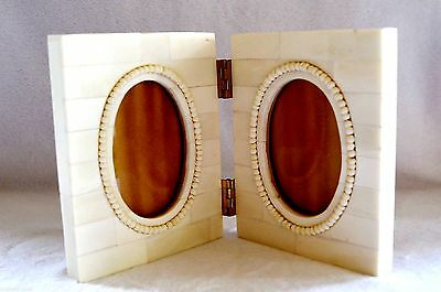 Vtg Hand Made Of Bovine   Double   Photo Travel  Frame-  Mint  Condition  !!!!!!