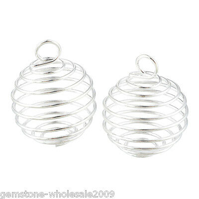 20PCS Wholesale Silver Plated Spiral Bead Cages Pendants Findings 25x20mm GW