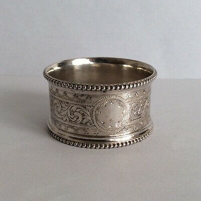 Vintage Solid Silver Mono-Grammed Napkin Ring- Pearl Disc- 23.2g