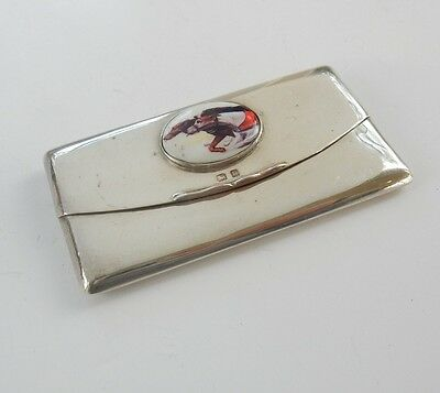 HMS Solid Silver & Enamel Racing Greyhounds Card Case Birmingham 1909