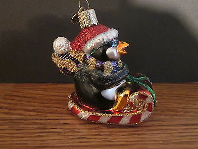 2003 Penguin on Sleigh Old World Christmas Blown Glass Tree Ornament OWC