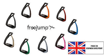 NEW Free Jump Soft' Up Pro Adults Black/Blue Stirrups