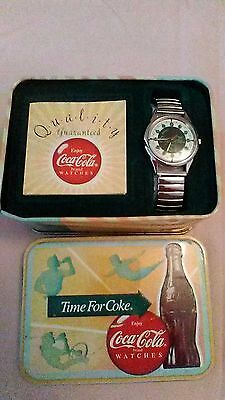 Coca Cola Wristwatch Watch In Collector Tin