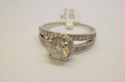 9ct white gold round moissanite engagement ring with diamond set shoulders 375
