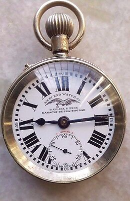 West End Watch Co Pocket watch in porcelian dial with nickel body