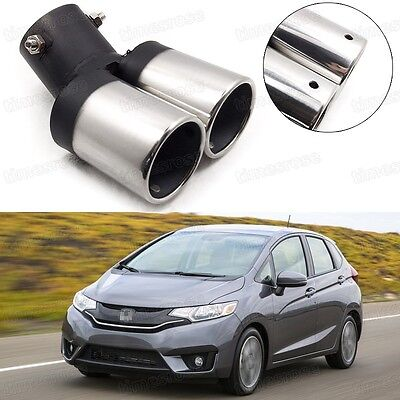 Car Exhaust Muffler Tip Tail Pipe End Trim Silver for Honda JAZZ 2015-2017 #1018