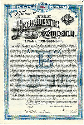 NEW JERSEY, The Accumulator Company $1000 Bond 1890, Signed by Theodore Vail