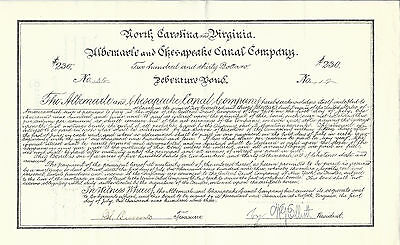 NORTH CAROLINA & VIRGINIA Albemarle & Chesapeake Canal Co Bond 1903