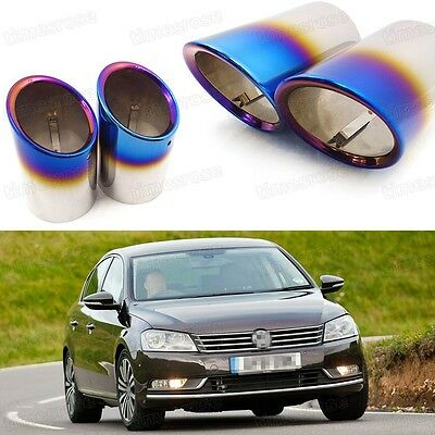 2x Car Exhaust Muffler Tip Tail Pipe End Trim Blue for VW Passat 2006-2014 #1031