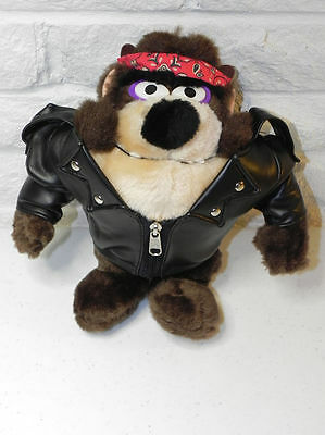 "TASMANIAN DEVIL 9"" Biker Plush Black Leather Jacket & Red Bandana 1993"