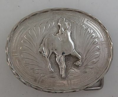 Taxco Sterling Silver Relief Horse Etched Heavy Western Belt Buckle