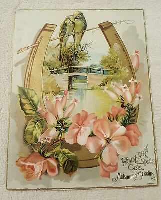 Vintage Antique Victorian Trade Card Woolson Spice Co Lion Coffee Midsummer