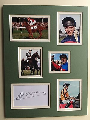 """Horse Racing Pat Eddery Signed 16""""x12"""" Double Mounted Picture Display"""