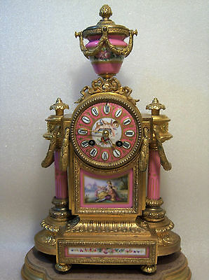 French Mantel Clock Japy Freres Sevres Plaques