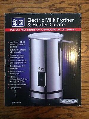Epica Electric Milk Frother For Heated Frothed Lattes Coffee & Chocolate