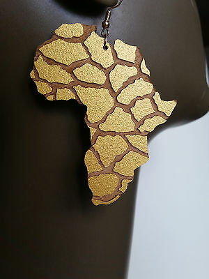 Africa map earrings natural wood gold painted Giraffe Animal print large sizes