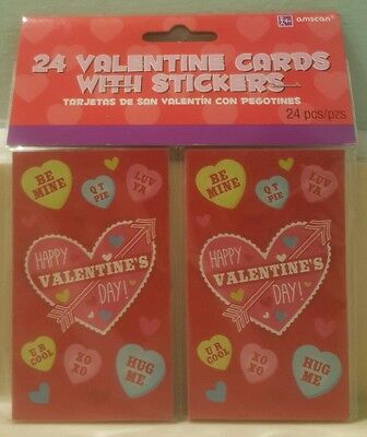 Amscan 24 Valentine Cards with Conversation Heart Stickers Happy Valentine's Day