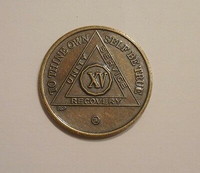 aa bronze alcoholics anonymous 15 year sobriety chip coin token medallion