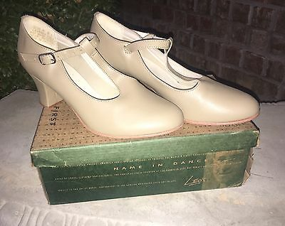 Leo's New York T Strap Tan Ballroom Character Dance Shoes 936 Size 7.5