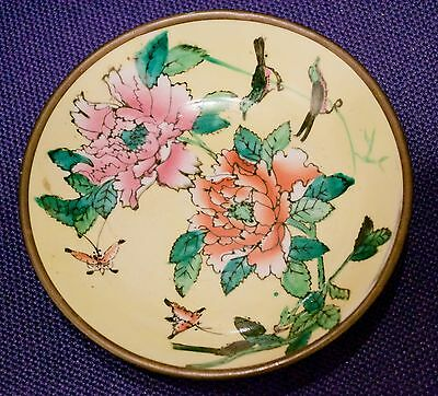 Chinese Brass Enamel  Porcelain Wall Dish Peonies Butterflies and Birds Vintage