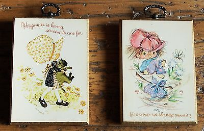 Holly Hobbie - pair of small wall plaques