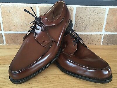 Vtg Oxford Shaw Steel Shank Brown Patent Leather Shoes Men's 10 Union Made Stamp