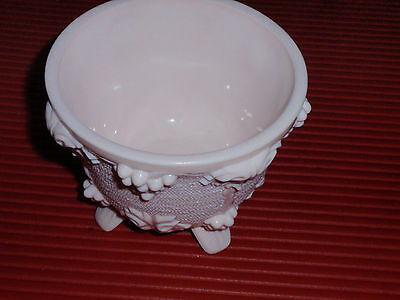 Pink Jeanette Milk Glass Grape Harvest Footed Bowl