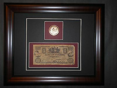 Tallahassee Florida 1864 Four $4.00 Currency Note Bill & 1819 Bronze Coin Frame