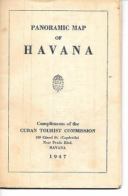1947 PANORAMIC MAP OF HAVANA CUBA - Excellent Condition - First English Edition