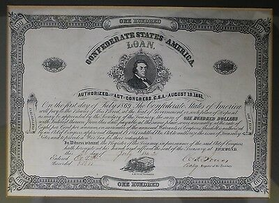 1862 Confederate States of America $100 Loan Certificate